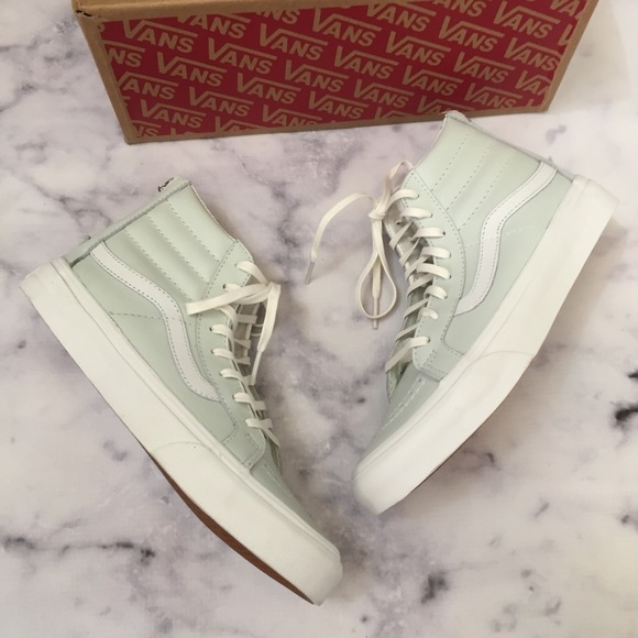 a08da45e0a VANs NWB SK8-Hi Slim Mint Green Leather Hi-Tops